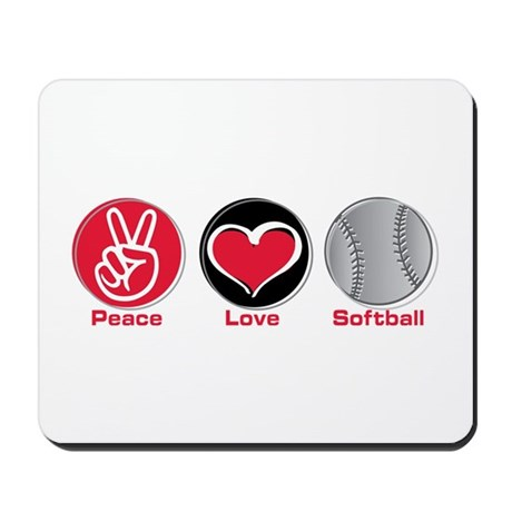 Peace Love Softball red Mousepad