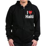 I Love Haiti (Front) Zip Hoodie (dark)