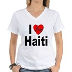 I Love Haiti (Front) Women's V-Neck T-Shirt