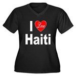 I Love Haiti (Front) Women's Plus Size V-Neck Dark