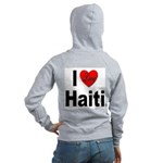 I Love Haiti (Back) Women's Zip Hoodie