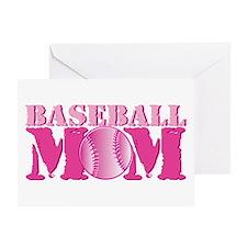 Baseball Mom pink Greeting Card