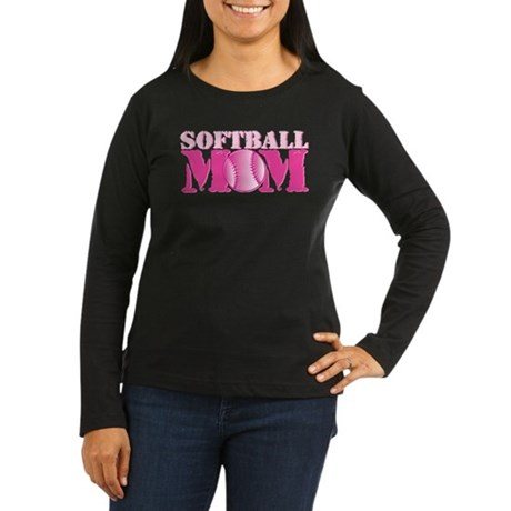 Softball Mom pink Women's Long Sleeve Dark T-Shirt