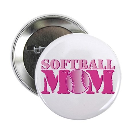 """Softball Mom pink 2.25"""" Button (100 pack)"""