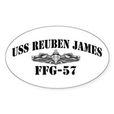 USS REUBEN JAMES Oval Sticker (10 pk)