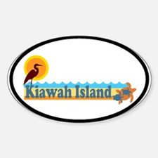 Kiawah Island SC - Beach Design Oval Decal