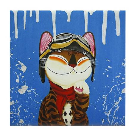 Cat Art - The Explorer Tile Coaster