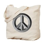 Silver Peace Sign Tote Bag