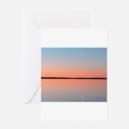 Moon Sunrise Greeting Cards