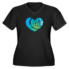 Haiti Heart Women's Plus Size V-Neck Dark T-Shirt