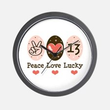 Peace Love Lucky 13 Wall Clock