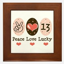 Peace Love Lucky 13 Framed Tile