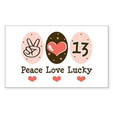 Peace Love Lucky 13 Rectangle Decal