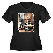 David Copperfield Women's Plus Size V-Neck Dark T-