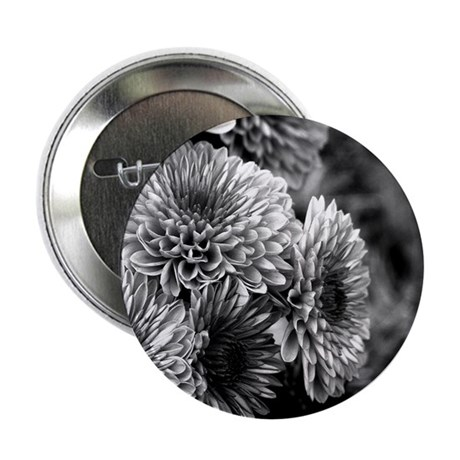 "Grayscale Mums 2.25"" Button"