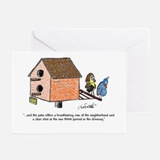 Flipping The Birdhouse Greeting Cards (Pk Of 10