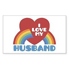 I Love My Husband Rectangle Decal