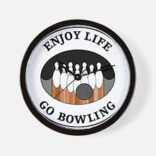 Enjoy Life Go Bowling Wall Clock
