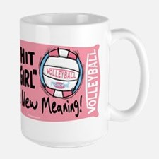 Hit Like Girl Vball Large Mug