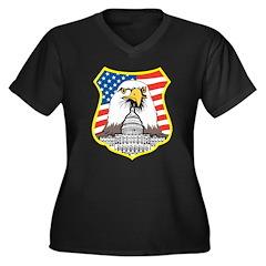 Patriot Eagle Women's Plus Size V-Neck Dark T-Shir