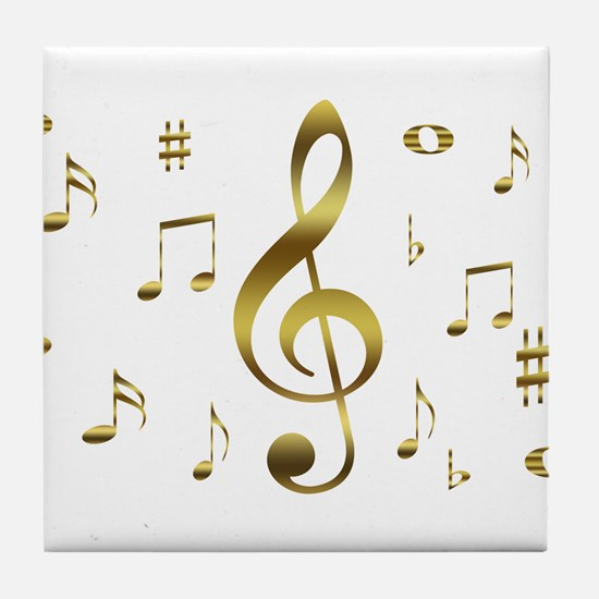 Music Gold Tile Coaster