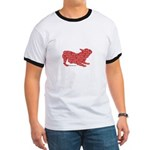 Red Word Silhouette (Play) Ringer T