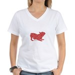Red Word Silhouette (Play) Women's V-Neck T-Shirt