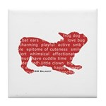 Red Word Silhouette (Play) Tile Coaster