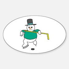 Hockey Snowman Oval Decal
