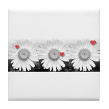 Daisies and hearts - Tile Coaster