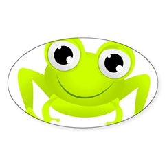 Cute Frog Oval Decal