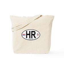 Croatia Euro Oval Tote Bag