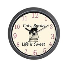 Cats Books Life is Sweet Wall Clock