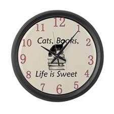 Cat on Books Large Wall Clock