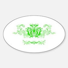 Green Damask Oval Decal