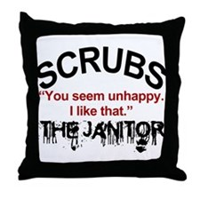 Janitor Quote, Scrubs Throw Pillow