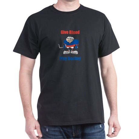 Give Blood, Play Hockey Black T-Shirt
