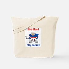 Give Blood, Play Hockey Tote Bag