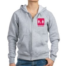 we are family women (pink) Zipped Hoodie