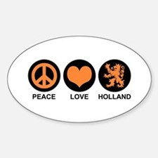 Peace Love Holland Oval Stickers