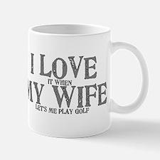 I love my wife golf funny Small Small Mug