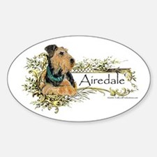 Vintage Airedale Oval Decal