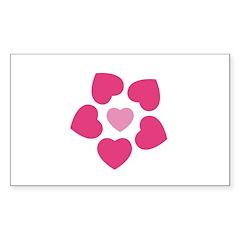 Heart Rectangle Sticker 50 pk)