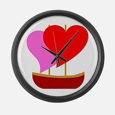 Sail Boat Love Large Wall Clock