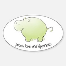 peace, love & hipponess Oval Decal