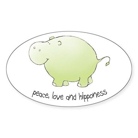 peace, love & hipponess Oval Sticker