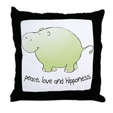 peace, love & hipponess Throw Pillow