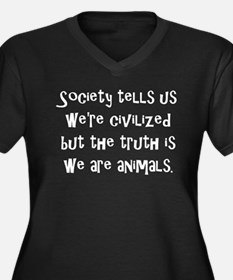 We Are Animals Women's Plus Size V-Neck Dark T-Shi