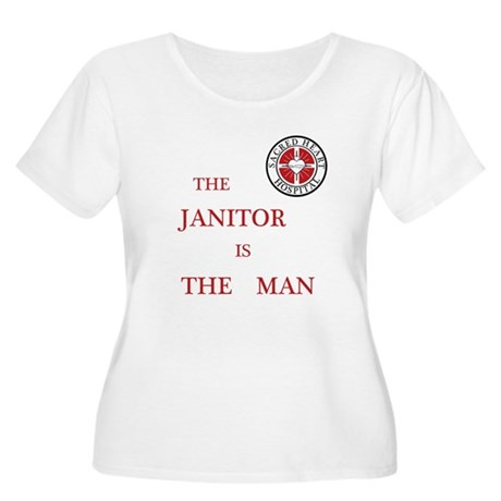 The Janitor is the Man Women's Plus Size Scoop Nec