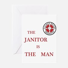The Janitor is the Man Greeting Cards (Pk of 10)